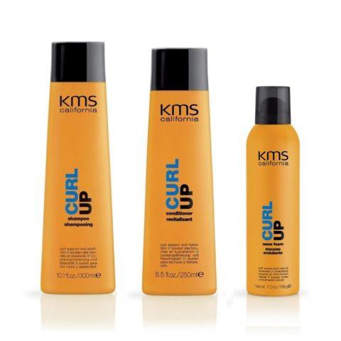 Kms california Kit6 Curlup Shampoo 300ml Conditioner 250ml Wave foam 200ml