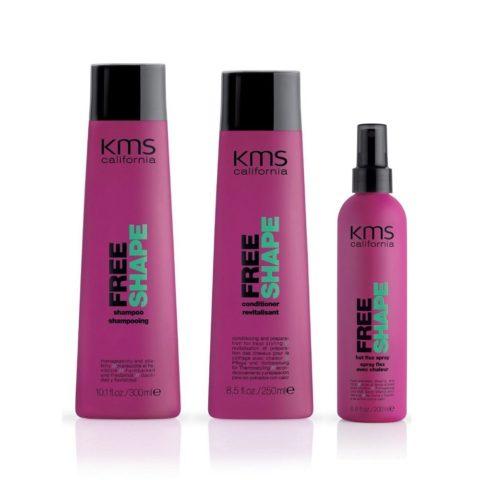 Kms california Kit4 Freeshape Shampoo 300ml Conditioner 250ml Hot flex spray 200ml