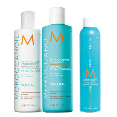 Moroccanoil Kit3 Extra volume shampoo 250ml e conditioner 250ml Luminous hairspray 330ml
