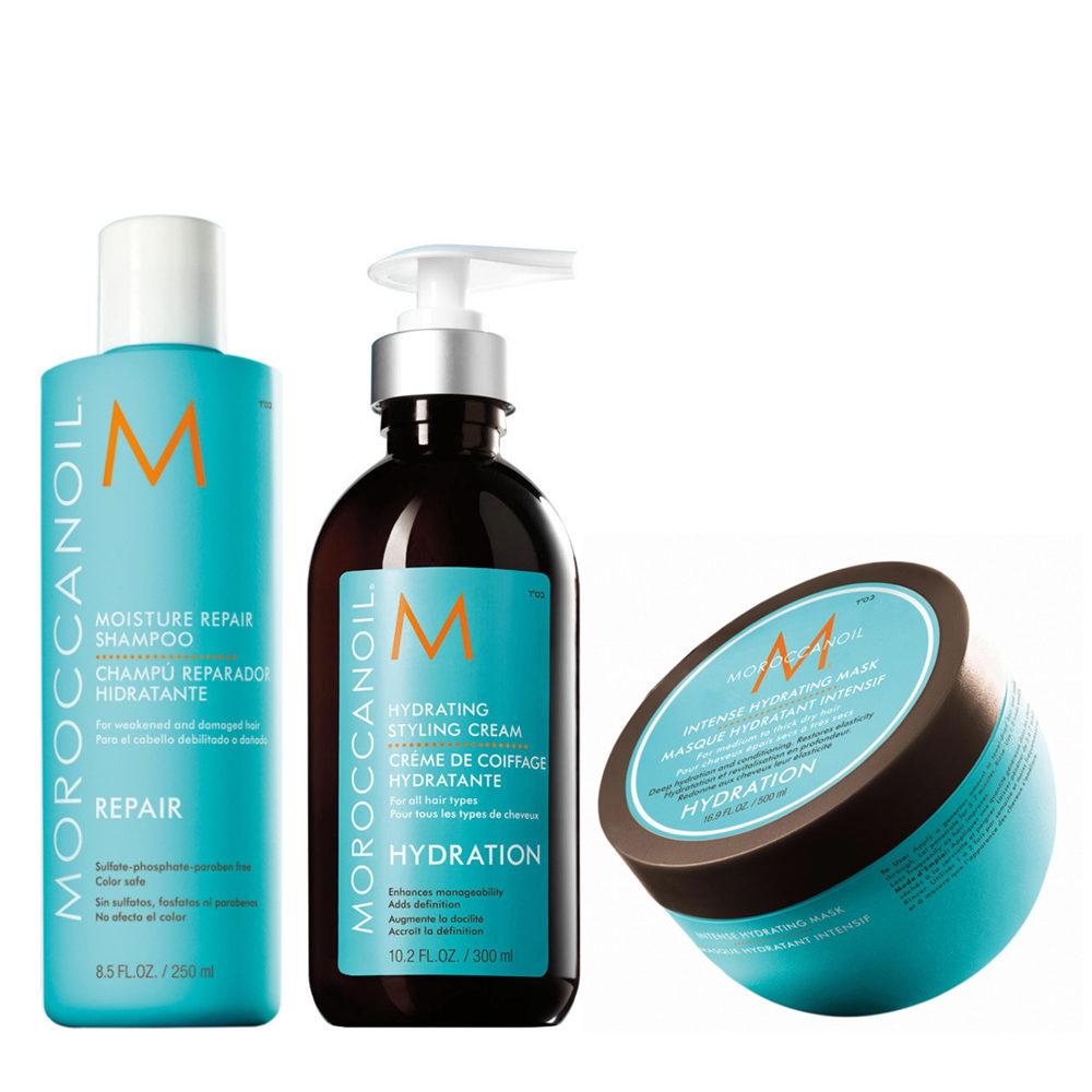 Moroccanoil Moisture repair shampoo 250ml Hydrating cream 300ml hydrating mask 250ml