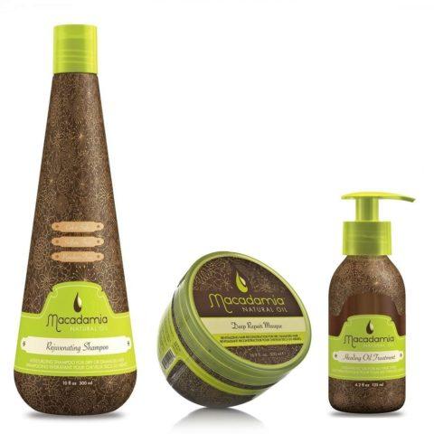 Macadamia Kit3: Rejuvenating Shampoo, Deep Repair Masque, Healing Oil Treatment