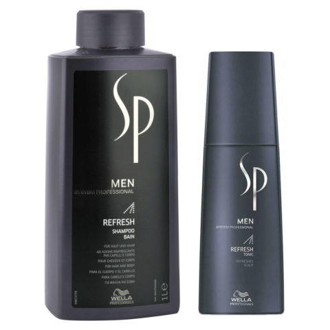 Wella System Professional Men Kit Refresh Shampoo 1000ml  Refresh Tonic 125ml