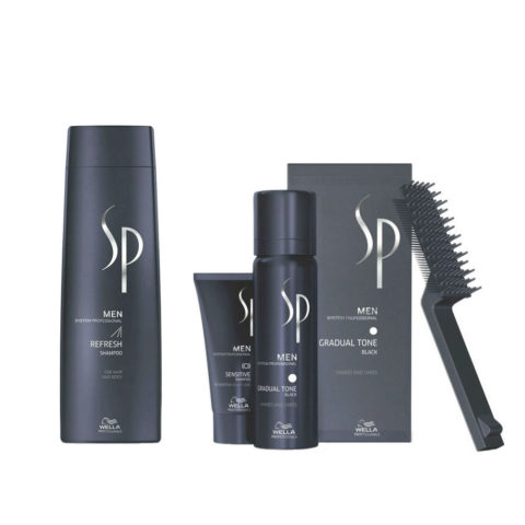 Wella System Professional Men Kit Refresh Shampoo 250ml  Gradual Tone Schwarz 60ml