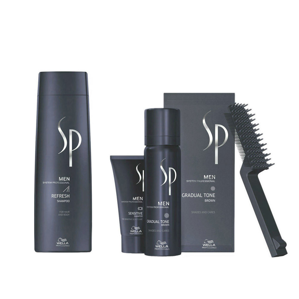 Wella SP Men Kit Refresh Shampoo 250ml  Gradual Tone Braun 60ml