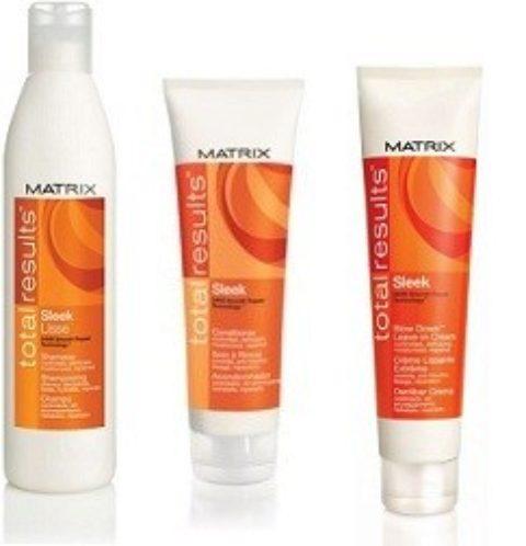 Matrix Total Result Kit Sleek Shampoo 300ml   Conditioner 250ml   Blow Down Leave-In Cream 150ml