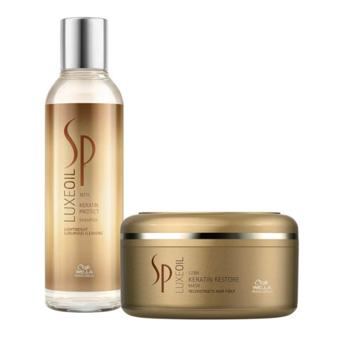 Wella System Professional Kit1 Luxe Oil Keratine protect shampoo 200ml   Keratin restore mask 150ml