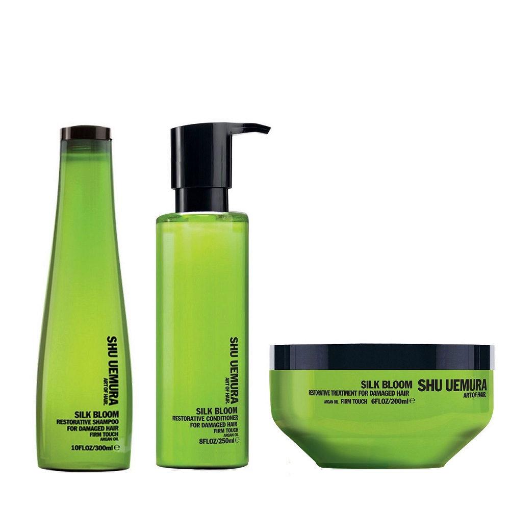 Shu Uemura Kit2 Silk Bloom Restorative Shampoo 300ml Conditioner 250ml Mask 200ml
