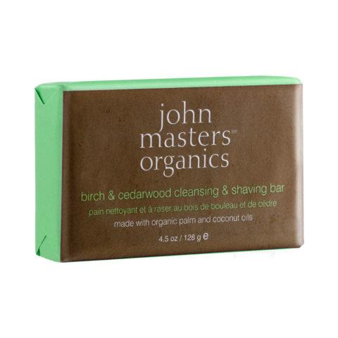 John Masters Organics Birch & Cedarwood Cleansing & Shaving Bar 128gr
