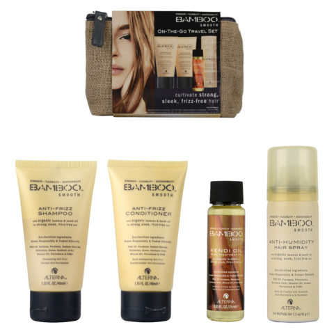 Alterna Bamboo Smooth Shampoo 40ml Conditioner 40ml Kendi oil 25ml Hair spray 43gr pochette