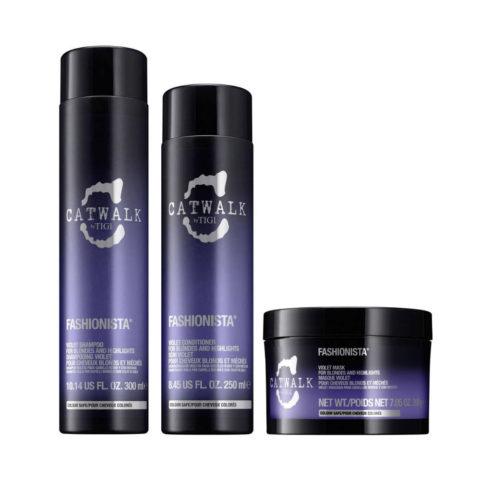 Tigi Catwalk Fashionista Violet kit shampoo 300ml conditioner 250ml mask 200gr