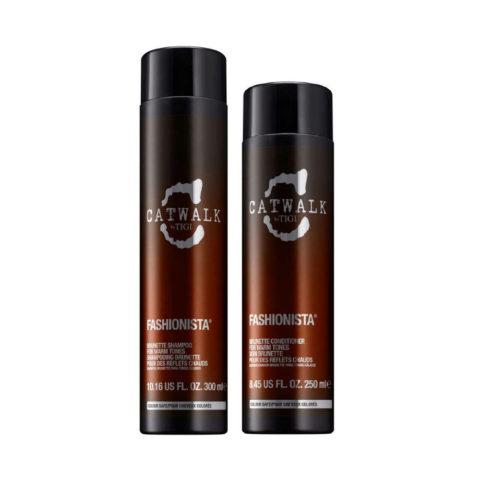 Tigi Catwalk Fashionista Brunette kit shampoo 300ml conditioner 250ml - Für warme Brauntöne