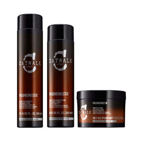 Tigi Catwalk Fashionista Brunette kit shampoo 300ml conditioner 250ml mask 200gr - fürm warme Brauntöne