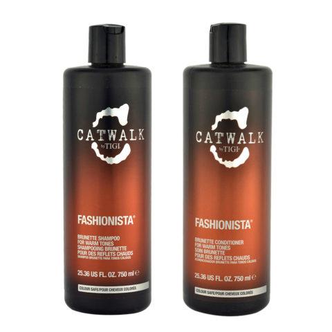 Tigi Catwalk Fashionista Brunette kit shampoo 750ml conditioner 750ml - Für warme Brauntöne