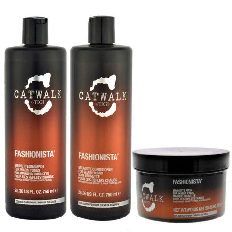 Tigi Catwalk Fashionista Brunette kit shampoo 750ml conditioner 750ml mask 580gr -für warme Brauntöne