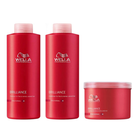 Wella Brilliance Kit Shampoo 1000ml Conditioner 1000ml Mask 500ml normal/thin hair