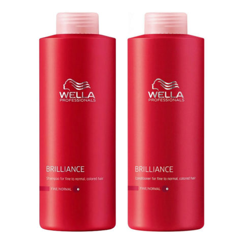 Wella Brilliance Kit Shampoo 1000ml Conditioner 1000ml normal/thin hair