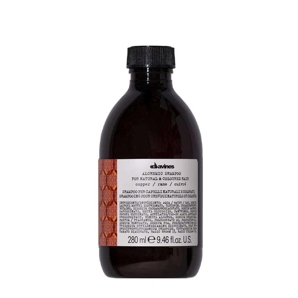 Davines Alchemic Shampoo Copper 280ml - Intensiviert kupferfarbenes Haar