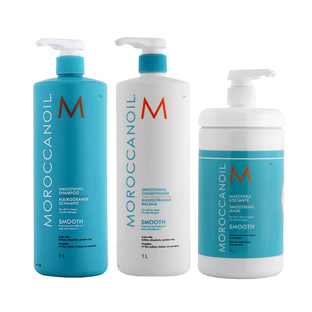 Moroccanoil Smoothing Kit Shampoo 1000ml Conditioner 1000ml Mask 1000ml