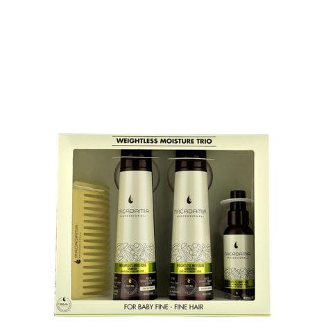 Macadamia Weightless moisture Trio: Shampoo 300ml  Conditioner 300ml  Mist 100ml  Kamm frei