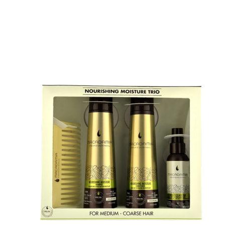 Macadamia Nourishing moisture Trio: Shampoo 300ml  Conditioner 300ml  Mist 100ml  Kamm frei!