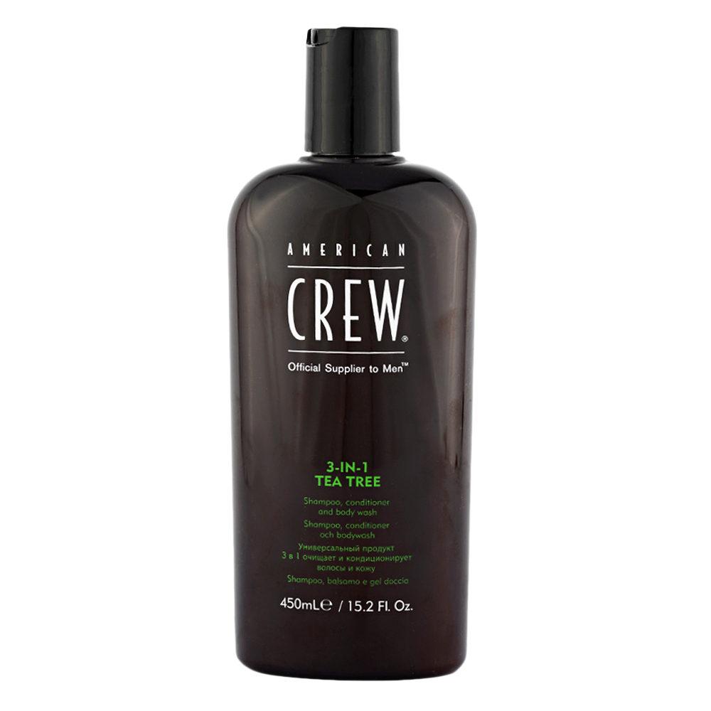 American crew Tea Tree 3 in 1 Shampoo Conditioner and Body Wash 450ml - Shampoo, Conditioner und Schaumbad