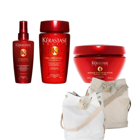 Kerastase Soleil Kit  Aqua Seal 125ml  Bain Photo-defense 250ml  Masque 200ml  Gratis Sun bag