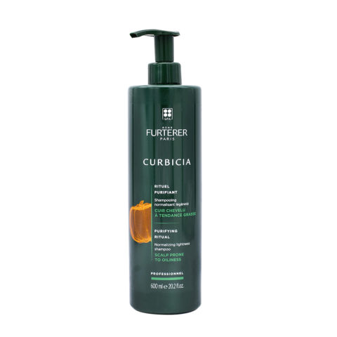 René Furterer Curbicia Normalizing Lightness Shampoo 600ml - Sanfte Reinigung von zum Fetten neigender Kopfhaut