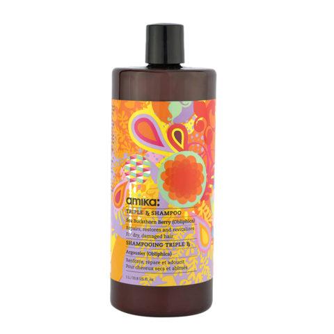 amika: Treatment Triple Rx Shampoo 1000ml - shampoo mit Keratine für strapaziertes Haar