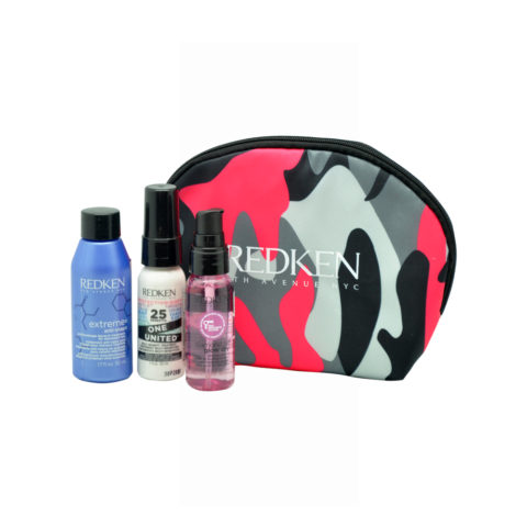 Redken Travel Kit Extreme Anti-Snap 50ml  One United Spray 30ml  Diamond Oil Glow dry oil 30ml Geschenk-Etui