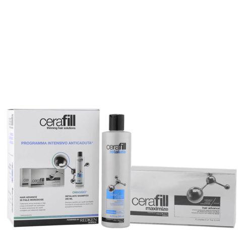 Redken Cerafill Intensive anti hairloss kit Retaliate shampoo 290ml Maximize Hair advance 20x6ml