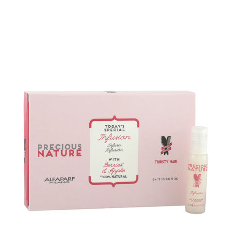Alfaparf Precious Nature Dry & Thirsty Hair Infusion With Berries & Apple 6x13ml Ampullen-Konzentrat FüR Trockenes Haar