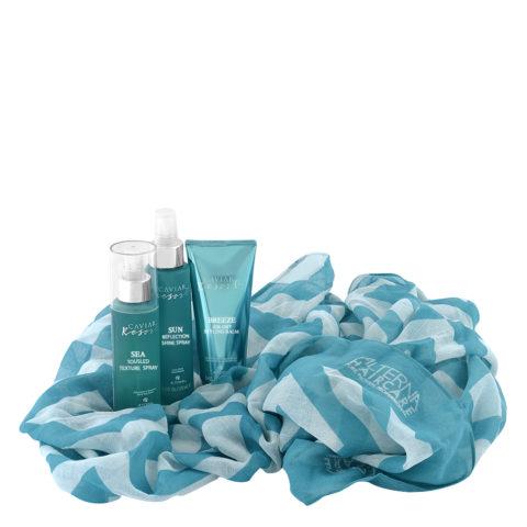 Alterna Caviar Resort Kit Texture Spray 118ml Air-Dry Balm 100ml Shine Spray 125ml + gift