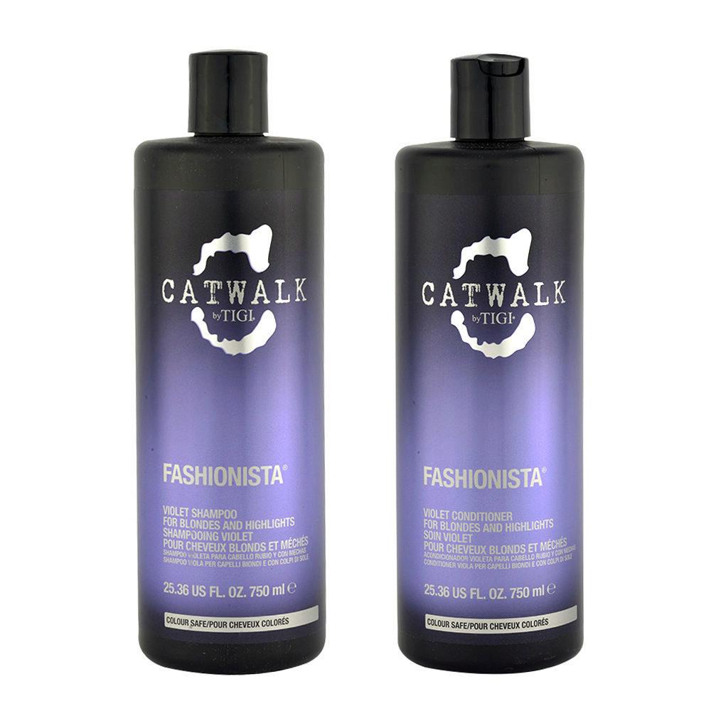 Tigi Catwalk Fashionista Violet kit shampoo 750ml conditioner 750ml Für Blonde Haare