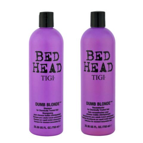 Tigi Bed head Dumb blonde Kit Shampoo 750ml + Conditioner 750ml für chemisch behandeltes blondes haar