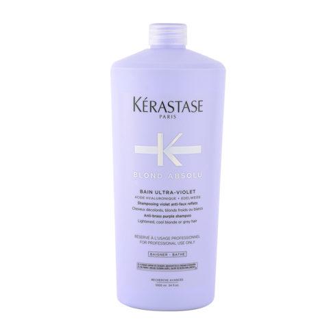 Kerastase Blond Absolu Bain ultra violet 1000ml - Hochwertiges Anti-Gelbstich Haarbad