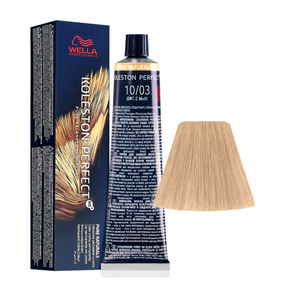 10/03 Hell-Lichtblond Natur-Gold Wella Koleston perfect Me+ Pure Naturals 60ml