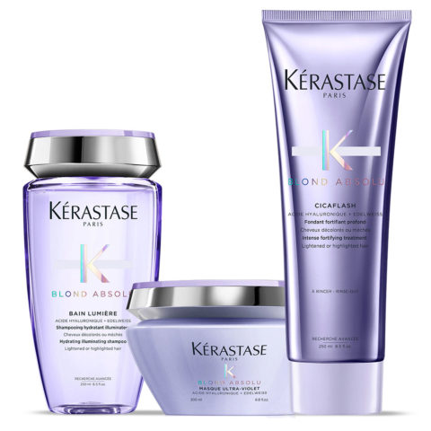Kerastase Blond absolu Kit Bain lumiere 250ml Cicaflash 250ml Masque 200ml
