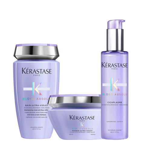 Kerastase Blond absolu Kit Bain ultra violet 250ml Masque 200ml Cicaplasme 150ml
