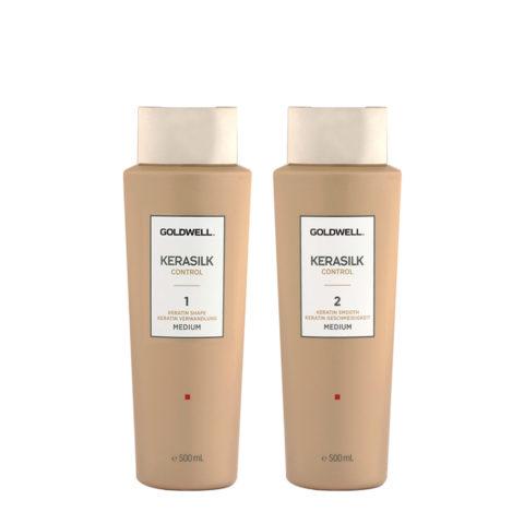 Goldwell Kerasilk Control 1 Shape Medium 500ml 2 Smooth Medium 500ml - Glättend Behandlung
