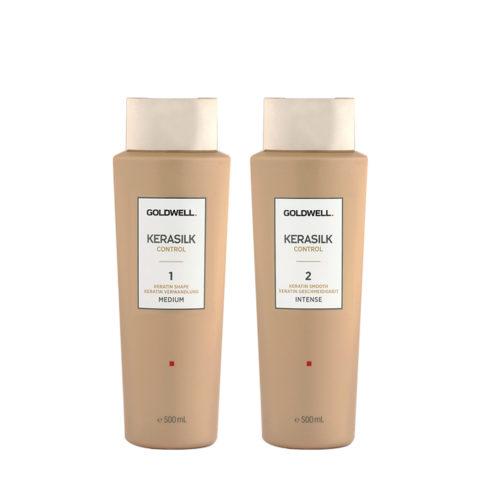 Goldwell Kerasilk Control 1 Shape Medium 500ml 2 Smooth Intense 500ml - Glättungsbehandlung
