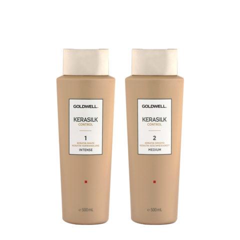 Goldwell Kerasilk Control 1 Shape Intense 500ml 2 Smooth Medium 500ml - Glättungsbehandlung