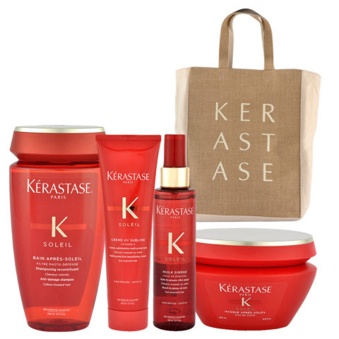 Kerastase Soleil Kit Shampoo 250ml Creme UV Sublime 150ml Huile Sirene 150ml Masque 200ml - Geschenk Strandtasche