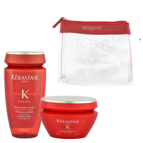 Kerastase Soleil Kit Shampoo Après Soleil 250ml Masque Après Soleil 200ml - Geschenk Handtasche
