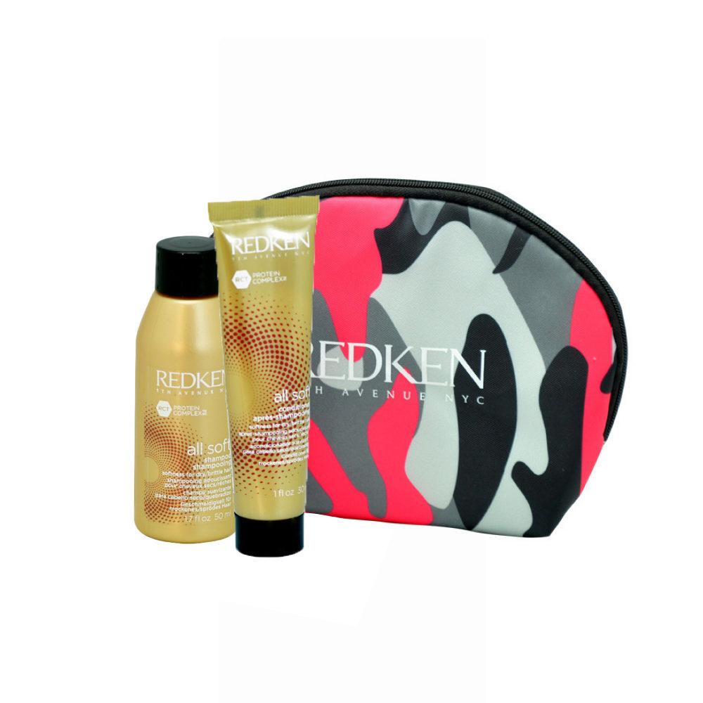 Redken Kit All soft Shampoo 50ml Conditioner 30ml Geschenk Handtasche