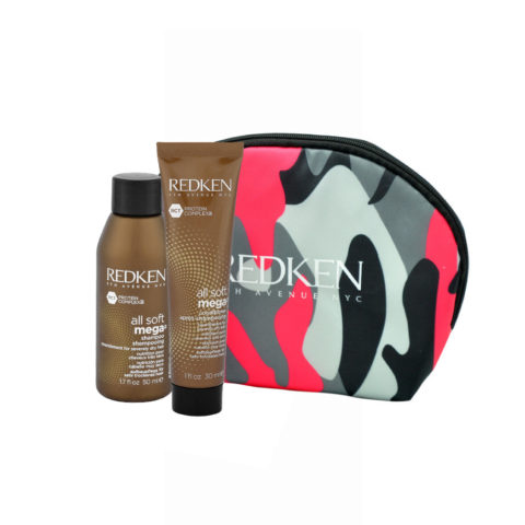 Redken Kit All Soft Mega Shampoo 50ml Conditioner 30ml Geschenk Handtasche