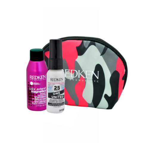 Redken Kit Color extend magnetics Shampoo 50ml  One United All in one spray 30ml Geschenk Handtasche