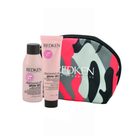 Redken Diamond Oil Glow Dry Gloss Shampoo 50ml Detangling Conditioner 30ml Geschenk Handtasche