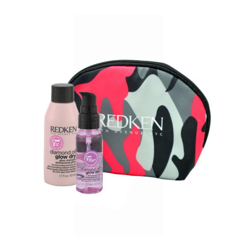 Redken Diamond Oil Glow Dry Gloss Shampoo 50ml Shine Oil 30ml Geschenk Handtasche