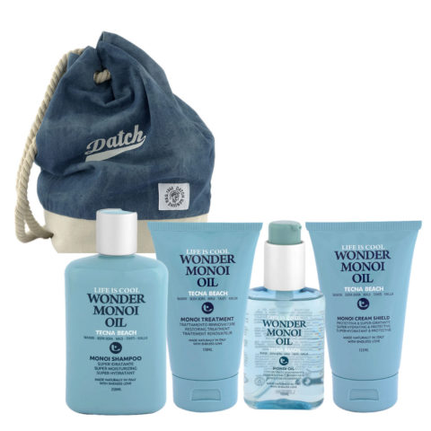 Tecna Beach Wonder Monoi kit Shampoo 250ml Treatment 150ml Oil 100ml Cream 200ml + Datch Rucksack