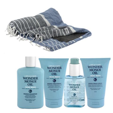 Tecna Beach Wonder Monoi kit Shampoo 250ml Treatment 150ml Oil 100ml Cream 200ml + Kostenloses Strandtuch Baldinini